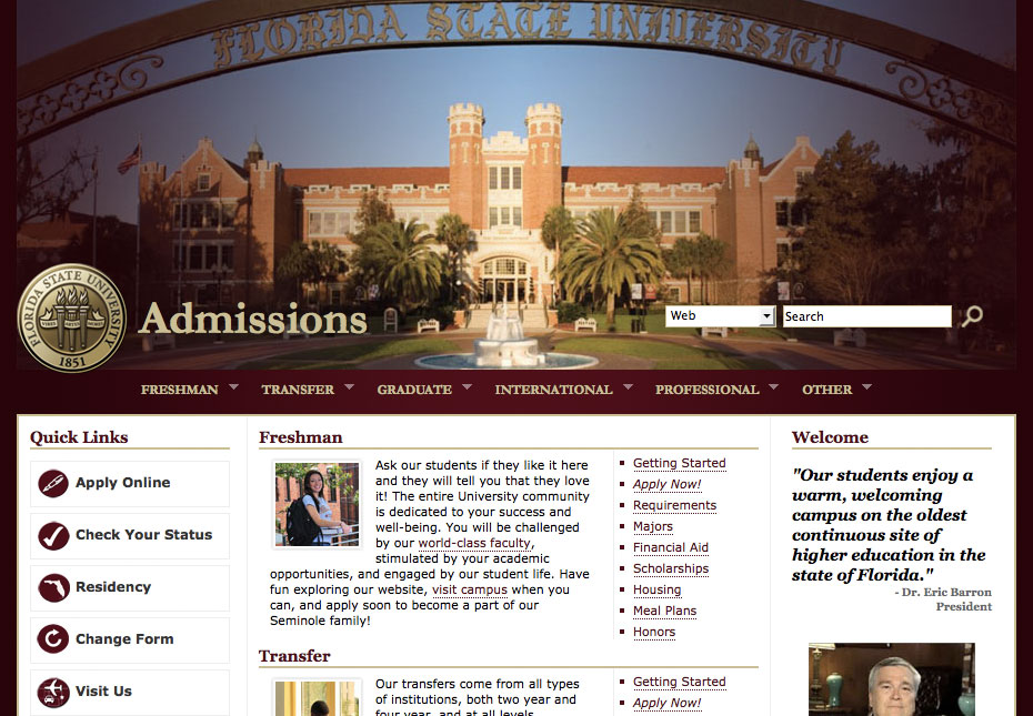 fsu essay admission Undergraduate application for admission through cfnc  250 word personal  statement that tells us who you are and why you want to attend fsu.